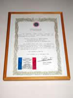 ルコント氏による認定証<br /> 「89~93年シェフ・パティシエとして、非常に技術が高く、繊細で誠実な仕事ぶりを発揮した」ことを証明している。